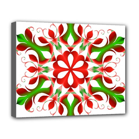 Red And Green Snowflake Deluxe Canvas 20  x 16