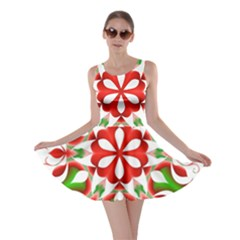 Red And Green Snowflake Skater Dress