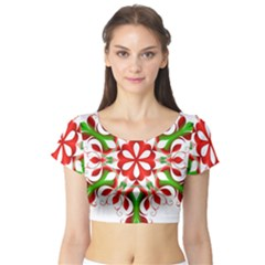 Red And Green Snowflake Short Sleeve Crop Top (tight Fit)