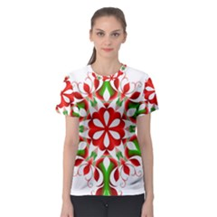 Red And Green Snowflake Women s Sport Mesh Tee