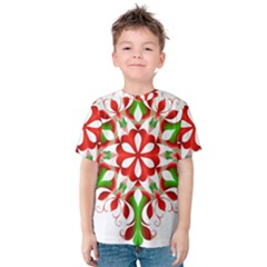 Red And Green Snowflake Kids  Cotton Tee