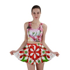 Red And Green Snowflake Mini Skirt