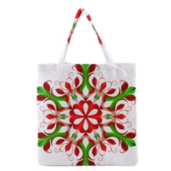 Red And Green Snowflake Grocery Tote Bag