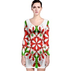 Red And Green Snowflake Long Sleeve Bodycon Dress