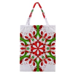 Red And Green Snowflake Classic Tote Bag