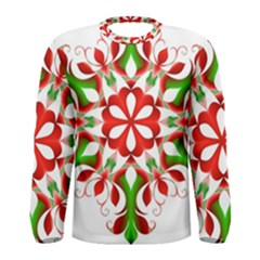 Red And Green Snowflake Men s Long Sleeve Tee