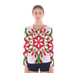 Red And Green Snowflake Women s Long Sleeve Tee