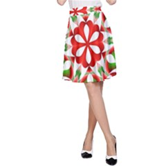 Red And Green Snowflake A Line Skirt