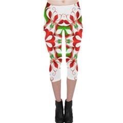 Red And Green Snowflake Capri Leggings