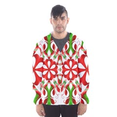 Red And Green Snowflake Hooded Wind Breaker (men)