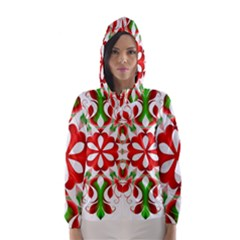 Red And Green Snowflake Hooded Wind Breaker (Women)