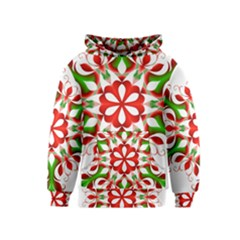 Red And Green Snowflake Kids  Pullover Hoodie