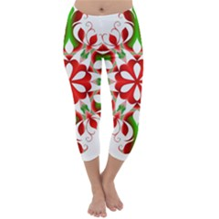 Red And Green Snowflake Capri Winter Leggings