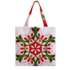 Red And Green Snowflake Zipper Grocery Tote Bag