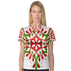 Red And Green Snowflake Women s V Neck Sport Mesh Tee