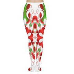 Red And Green Snowflake Women s Tights