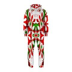 Red And Green Snowflake Hooded Jumpsuit (Kids)