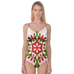Red And Green Snowflake Camisole Leotard