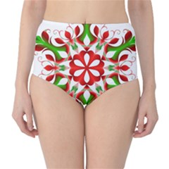 Red And Green Snowflake High-Waist Bikini Bottoms