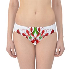 Red And Green Snowflake Hipster Bikini Bottoms
