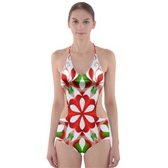Red And Green Snowflake Cut-Out One Piece Swimsuit