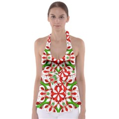 Red And Green Snowflake Babydoll Tankini Top