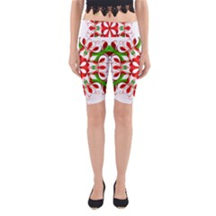Red And Green Snowflake Yoga Cropped Leggings