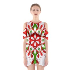 Red And Green Snowflake Shoulder Cutout One Piece