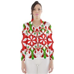 Red And Green Snowflake Wind Breaker (Women)