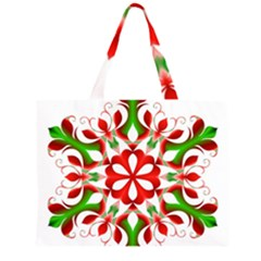 Red And Green Snowflake Large Tote Bag