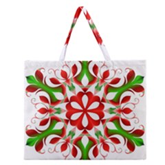 Red And Green Snowflake Zipper Large Tote Bag