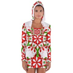Red And Green Snowflake Women s Long Sleeve Hooded T-shirt