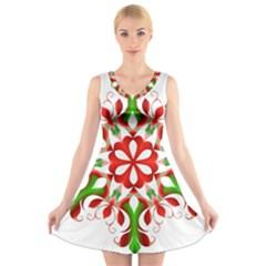 Red And Green Snowflake V Neck Sleeveless Skater Dress