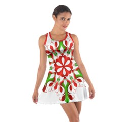 Red And Green Snowflake Cotton Racerback Dress
