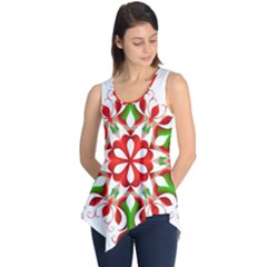 Red And Green Snowflake Sleeveless Tunic