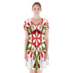 Red And Green Snowflake Short Sleeve V Neck Flare Dress