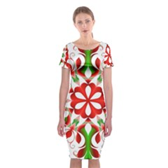 Red And Green Snowflake Classic Short Sleeve Midi Dress