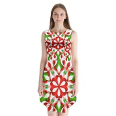 Red And Green Snowflake Sleeveless Chiffon Dress