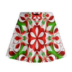 Red And Green Snowflake Mini Flare Skirt
