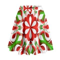 Red And Green Snowflake High Waist Skirt