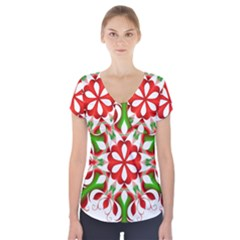 Red And Green Snowflake Short Sleeve Front Detail Top