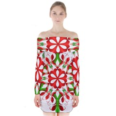 Red And Green Snowflake Long Sleeve Off Shoulder Dress