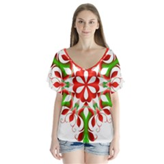 Red And Green Snowflake Flutter Sleeve Top