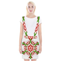 Red And Green Snowflake Suspender Skirt