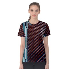Red And Black High Rise Building Women s Cotton Tee