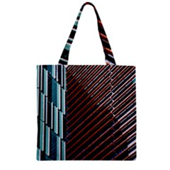 Red And Black High Rise Building Zipper Grocery Tote Bag