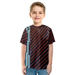 Red And Black High Rise Building Kids  Sport Mesh Tee