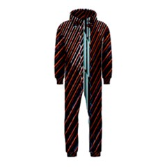 Red And Black High Rise Building Hooded Jumpsuit (kids)