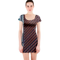 Red And Black High Rise Building Short Sleeve Bodycon Dress