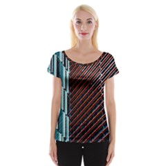 Red And Black High Rise Building Women s Cap Sleeve Top